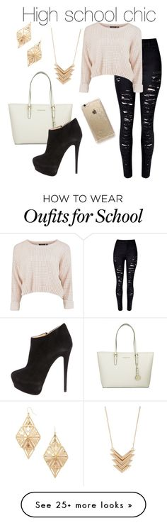 """""""high school chic"""" by glitteraardvark on Polyvore featuring Forever 21, Michael Kors, Giuseppe Zanotti, Rifle Paper Co, women's clothing, women's fashion, women, female, woman and misses"""