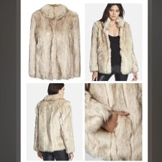 """Topshop 'Leah' Cream Faux Fur Coat Details & Care A vintage-inspired coat blanketed with plush faux fur is modernized by a fitted neck with a hook-and-eye closure and hidden side pockets. - 29"""" length (size 8). - Lined. - 60% modacrylic, 40% acrylic plush faux-fur. - Dry clean - Never worn, new with tags - Smoke free, pet free home  Garment is labeled: - EUR 36, US 4, UK 8 - Fits like a US 0-2/XS-SM Topshop Jackets & Coats"""