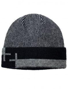 Dahlia Men's Wool Blend Winter Beanie Hat - Striped Pattern Fleece Lined