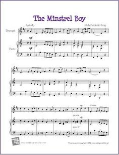 The Minstrel Boy - Free Trumpet Sheet Music (Digital Print) Free Printable Sheet Music, Free Sheet Music, Trumpet Sheet Music, Summer Songs, Online Lessons, Song Playlist, Free Printables, Music Videos, Cocktails