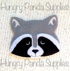 Raccoon Feltie Embroidery Design, raccoon feltie, raccoon machine embroidery, ITH, in the hoop, 4x4, raccoon, woodlands