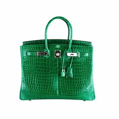 Hermes Vert Emeraud Porosus Crocodile Birkin Bag with Palladium Hardware c505ba0e6f4b2