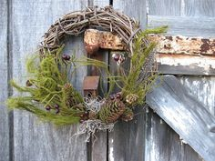 Christmas Wreath - Holiday wreath - Rustic grapevine with Birdhouse - Country wreath - Primitive wreath - Early American Wreath - Colonial on Etsy, $12.00