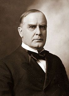 William McKinley (1843-1901) was the 25th President of the United States, serving from March 4, 1897, until his death. McKinley led the nation to victory in the Spanish–American War, raised protective tariffs to promote American industry, and maintained the nation on the gold standard in a rejection of inflationary proposals. McKinley's administration ended with his assassination in September 1901.