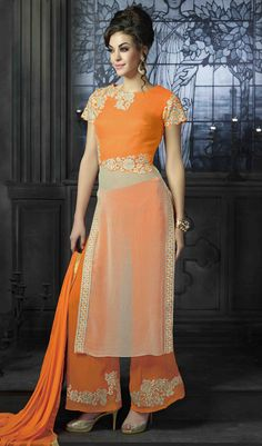 USD 52.63 Orange Georgette Palazzo Style Suit 47693