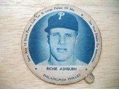 1952 Dixie Ice Cream Lid Richie Ashburn Philadelphia Phillies Phillies Baseball, Baseball Cards, Sports Figures, Philadelphia Phillies, Nebraska, Mailbox, Postcards, Stamps, Ice Cream