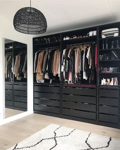 A round-up of the best closet makeovers using the IKEA Pax system with hacks to make it look custom and solutions for creating the most functional closet. Walk In Closet Ikea, Ikea Pax Closet, Ikea Closet Organizer, Ikea Pax Wardrobe, Wardrobe Room, Walk In Closet Design, Bedroom Closet Design, Master Bedroom Closet, Closet Designs