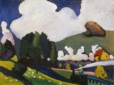 Landscape near Murnau with a Locomotive by Vassily Kandinsky