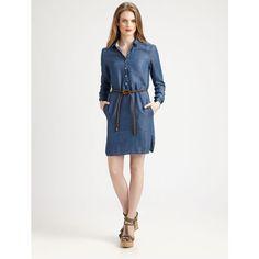 Burberry Brit Washed Denim Shirtdress ($315) ❤ liked on Polyvore