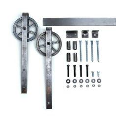 6 8 Ft Vintage Chic European Spoke Wheel Sliding Barn Door Closet Hardware  Track (
