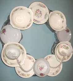 Great (and beautiful) way to repurpose china saucers and cups.