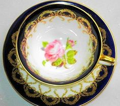 AYNSLEY ENGLAND COBALT BLUE PINK Rose TEA CUP AND SAUCER