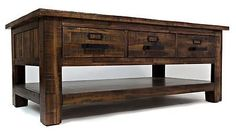 Rustic Coffee Table Distressed Wood Vintage Cocktail Furniture Antique Style New
