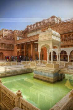 *INDIA ~ The Junagarh Fort in Bikaner stands out for its intact beauty + grandiose. This is the central courtyard pool where allegedly the $Rana or king would play holi with his many wives. The pool still holds coloured water today.