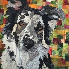 Dog portrait - patchwork and Appliqué. Dog Quilts, Cat Quilt, Animal Quilts, Quilt Art, Patchwork Quilt, Applique Quilts, Collages, Collage Art, Landscape Art Quilts