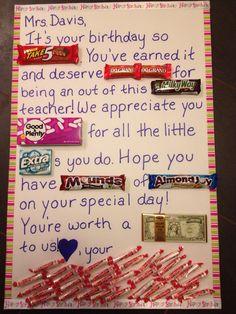 Candy bar birthday teacher card