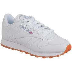 Reebok Women's Classic Leather Gum Low-Top Sneaker ($75) ❤ liked on Polyvore featuring shoes, sneakers, white, rubber sole shoes, white low top sneakers, white low tops, white low top shoes and reebok sneakers
