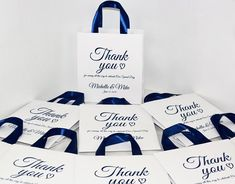 20 Navy Blue Personalized Wedding Welcome Bags with satin ribbon handles and names, Elegant Wedding Thank You favors for guests Wedding Gift Baskets, Wedding Gift Bags, Wedding Favors, Wedding Welcome Gifts, Wedding Thank You, Personalized Wedding, Elegant Wedding, Navy Blue, Paper Bags