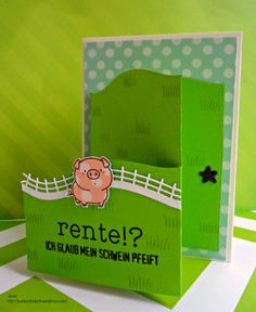 My Favorite Things MFT - The Whole Herd Popup stage card - happy retirement card Rente Schwein front