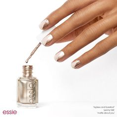 Give your traditional neutral mani an edge with this diagonal nail design featuring a flash of pink copper. Check out this nail art look and more at essie.com. #essielove by essiepolish