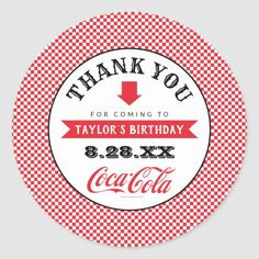 Shop Coke Birthday BBQ - Thank You Classic Round Sticker created by cocacolashop. Personalize it with photos & text or purchase as is! Coca Cola Gifts, Coca Cola Party, Coca Cola Shop, Birthday Bbq, Summer Birthday, Coca Cola Merchandise, Coke Cans, Free Paper, Round Stickers