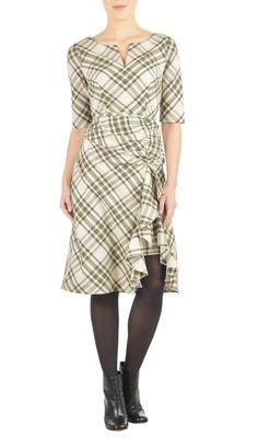 eShakti Ruffle front cotton check dress