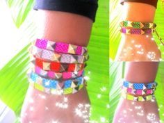 Studs Friendship Bracelet. Neon colors