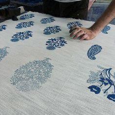 Classic Blue and White. Handblock prints in development. #handmade #handblockprints #floral #motifs #linen #textiles #indigo