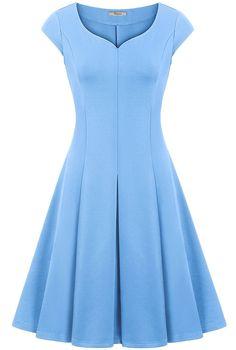 Wedding Dress,Bebonnie Women Short Sleeve Blue Casual Skater Bridesmaid Swing Dress Light Blue M