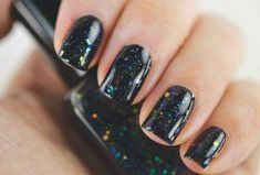 Top 30 Squoval Nail Designs To Redefine Your Personality #AcrylicNailsForSummer Black Nails With Glitter, Black Nail Polish, Gray Nails, Glitter Nail Polish, White Nails, Chevron Nails, Square Oval Nails, Grey Nail Designs, Balea