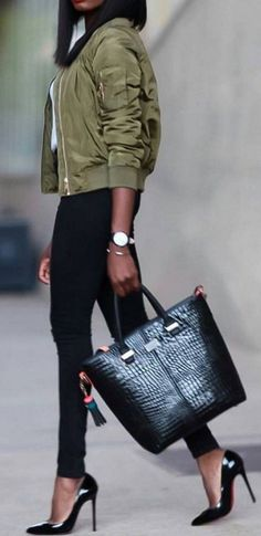 #streetstyle #spring2016 #inspiration | Olive Bomber Jacket + Black And White                                                                             Source