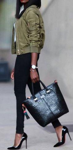 #streetstyle #spring2016 #inspiration   Olive Bomber Jacket + Black And White