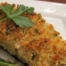 Parmesan Crusted Baked Fish Recipe- tried this with tilapia and it was yummy.  I must have put the topping on too thick though because it didn't crisp up as much as the picture.  I will definitely go back to this for fish.