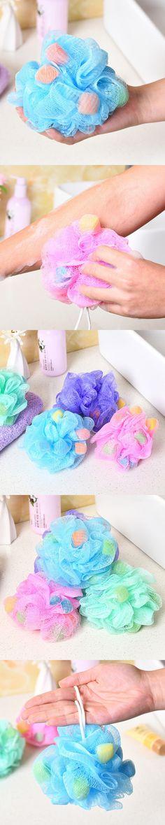 4Pcs Hygienic PE Soft Bath Ball Rich Bubbles Bath Sponge Brush Bathroom Shower Set Unisex Massage Exfoliating Shower Spa