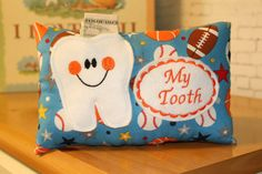 Tooth Fairy Pillow-Boys Tooth Fairy Pillow-Personalized by Sport Football, Baseball, Bed With Posts, Tooth Fairy Pillow, First Tooth, Fairy Dust, Riley Blake, Making Memories, Printing On Fabric