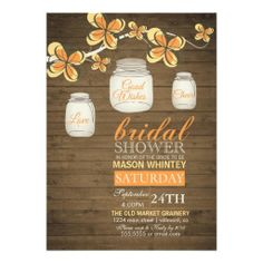 Country Mason Jar Bridal Shower Rustic Orange Announcements