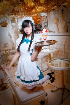 From the land where it's socially acceptable to teasingly indulge men's fetishes in public and have other young women just say it's cute, here's a pic of a hot young Japanese model, kneeling in a maid costume witth an ice cream treat she's ready to serve. Maid Cosplay, Asian Cosplay, Cosplay Girls, French Maid Dress, French Maid Uniform, Popular Costumes, Maid Outfit, Dress Up Costumes, Cute Girl Outfits