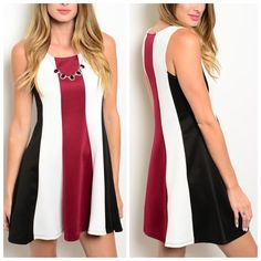 """STUNNING A-LINE DRESS What a beautiful A-line dress. Black, white, and wine stripes. So flattering!  92% polyester 8% spandex. Small: L33"""" B17"""" W18"""" S - 2 M - 2 L - 2 Please comment size needed below.  PLEASE DO NOT BUY THIS LISTING. Allow me to make your separate listing for you or help you make a bundle ❤️.  NO PAYPAL NO TRADES. Price is firm unless bundled. Dresses"""