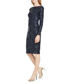 Glistening sequins and beautiful floral embroidery highlight the romantic appeal of this slim-fitting cocktail dress from Lauren Ralph Lauren. | Nylon; lining: polyester/elastane | Dry clean | Importe