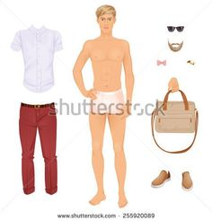 Handsome blonde man with clothes, paper doll . Vector illustration.