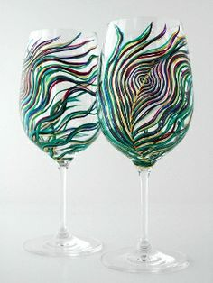 Gorgeous peacock wine glasses
