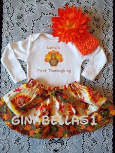 personalized onesie thanksgiving outfit baby girl 1st first skirt turkey day