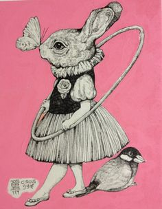 Hula Bunny by Yuko Higuchi Kunst Inspo, Art Inspo, Art And Illustration, Rabbit Illustration, Arte Indie, Bild Tattoos, Rabbit Art, Alice In Wonderland, Illustrators