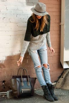 sweater bag jeans shoes hat