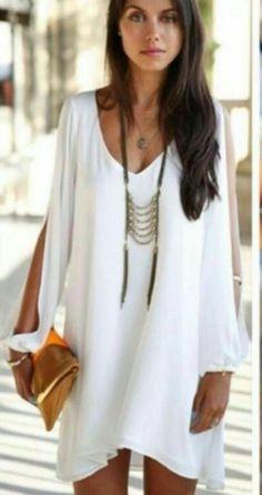 50 tl ❤kol dekolteli salaş beyaz elbise ✔dokuma viskon kumaş s m l beden  Model kodu=1691
