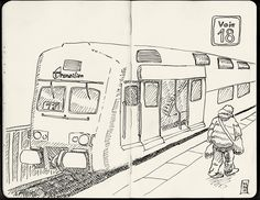 Gare Montparnasse - 6 minutes pour faire le croquis avant le départ du train ! Encrage un peu plus tard...