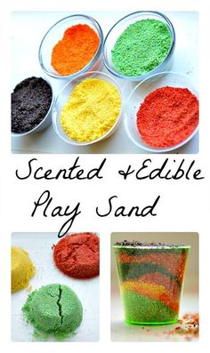 Edible Play Sand Recipe for kids - This is an interesting idea! Cornmeal and Kool Aid mix!