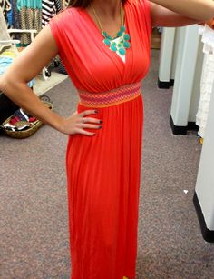 Coral maxi dress, spring colors, mint necklace. Sooo cute! Www.sexymodest.com