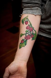 Raspberry tattoo by Christopher Ruppert  Not exactly how I would imagine it, but made me think of you :)