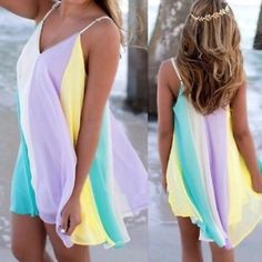 """HP 3/13, 7/2ADORABLE RAINBOW SUNDRESS! I had these beautiful chiffon like dresses in the spring and they sold out in 10 days! Nicely made, flattering for every figure. Adjustable straps, fully lined. PLEASE GO BY MEASUREMENTS, THESE RUN VERY LARGE!                                            ♦️S: bust 43""""♦️M: bust 45""""♦️L: bust 47""""                ♦️XL: bust 49""""♦️XXL: bust 51""""                                       Length: 32-34"""" tla2 Dresses Mini"""